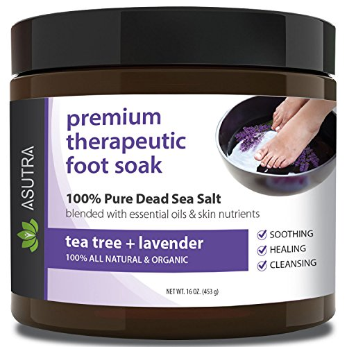 ASUTRA Premium Therapeutic Foot Soak - TEA TREE + LAVENDER + Free Pedicure Pumice Stone - 100% Pure Dead Sea Salt With Skin Healing Nutrients & Organic Essential Oils - Large 16oz
