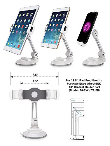 AboveTEK iPad Suction Cup Holder Tablet Stand, Large Sticky Pad Phone Holder on Smooth Surface Desk Countertop Mirror Window, Swivel Cell Phone Car Holder Tablet Mount 4-11'' iPhone 5 6 7 iPad Mini Pro by AboveTEK (Image #4)