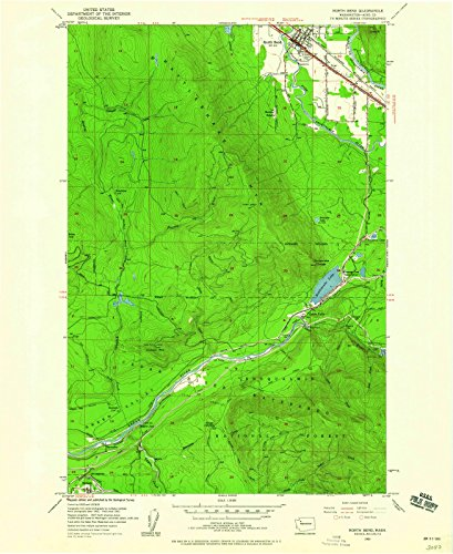 Washington Maps - 1953 North Bend, WA USGS Historical Topographic Map - Cartography Wall Art - 44in x ()