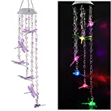 Solar Mobile Bead Wind Chime, Color Changing LED Solar Wind Chime Solar Powered LED Hanging Lamp Wind Chime Light Wind Chimes for Outdoor Indoor Gardening Lighting Decoration Home (Dragonfly)