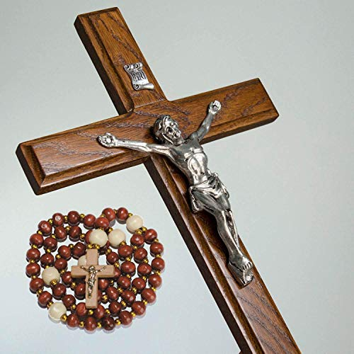 Asterom Handmade Crucifix Wall Cross for Home Decor - Wooden Catholic Wall Crucifix - 12 Inch