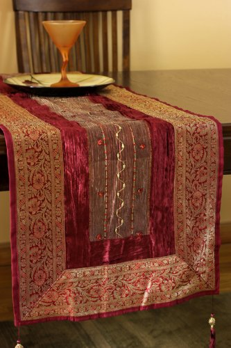 Arabian Velvet 70-Inch by 17-Inch Table Runner (Passion (Signature Silk Linen Collection)