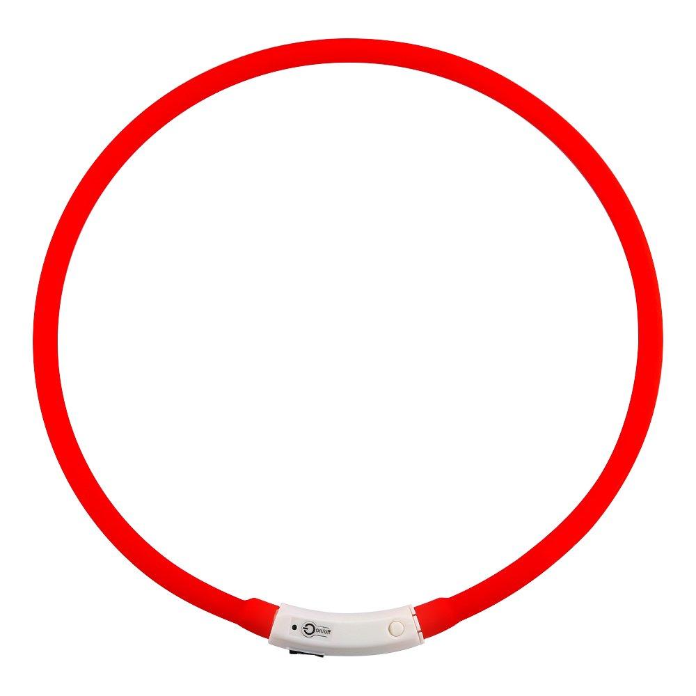 ZOGIN LED Pet Dog Collar, USB Rechargeable LED Dog Safety Flashing Light Collar-Red