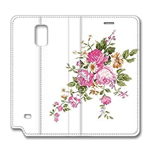 Brian114 Samsung Galaxy Note 4 Case, Note 4 Case - Samsung Note 4 Protective and Light Carrying Cover Vivid Peony Painting Non-Slip Leather Case for Samsung Galaxy Note 4