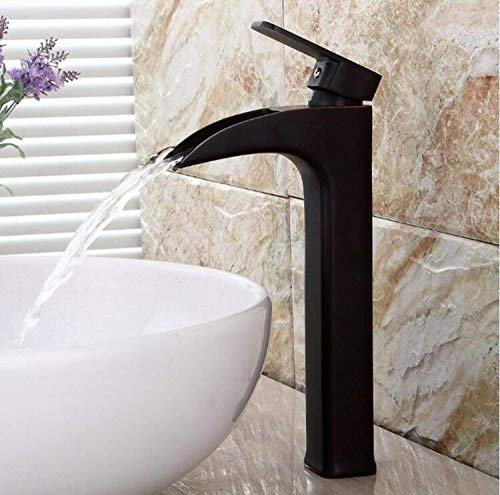 B Oudan Basin Faucets Black Brass Waterfall Bathroom Basin Faucet Square Round Spout Single Handle Deck Vanity Sink Mixer Water Tap B539,A (color   B, Size   -)