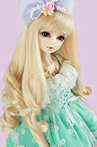 Doll Fur Wig ((22-24cm) 1/3 BJD Doll SD Fur Wig Dollfie / Multiple Color Curly Long Hair / Custom-made BJD Wig / DZW-03)