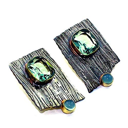 Blue Topaz Chalcedony Earring Black Gold Rhodium Handmade Jewelry (Earrings Blue Chalcedony Topaz)