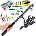 Telescopic Fishing Rod with Reel Combos Set Portable Carbon Light Weight Travel Fish Outfit by Sougayilang