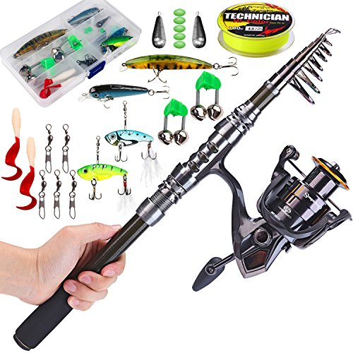 Telescopic Fishing Rod with Reel Combos Set Portable Carbon Light Weight Travel Fish Kits (Adult Combo Kit)