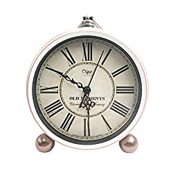 JUSTUP 5.2 Classic Retro Clock, European Style Vintage Silent Desk Alarm Clock Non Ticking Quartz Movement Battery Operated, HD Glass Lens, Easy to Read (White)