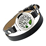 AZORA Aromatherapy Essential Oil Diffuser Bracelet - Stainless Steel Magnetic Locket Bangle Leather Band 8 Felt Pads