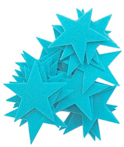 (Playfully Ever After 3 Inch Turquoise Blue 22pc Felt Star Stickers)