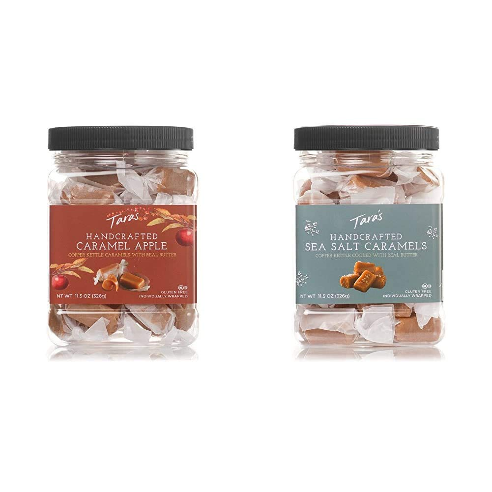 Tara's All Natural Handcrafted Gourmet Caramel Apple Flavored Caramels: Small Batch, 11.5 Ounce & All Natural Handcrafted Gourmet Sea Salt Caramel: Small Batch, Kettle Cooked, 11.5 Ounce