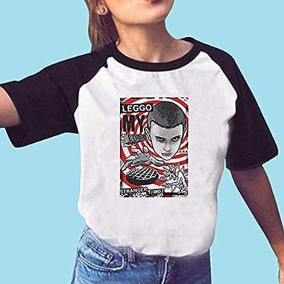 Stranger Things Camiseta de mujer adolescente niña temporada 2 Demogorgon Verano Camisetas Mujeres Eleven Raglan Manga Corta Camiseta Upside Down Sport Casual Blusa Camiseta Tops Camisa Sale, color 35, tamaño large: Amazon.es: