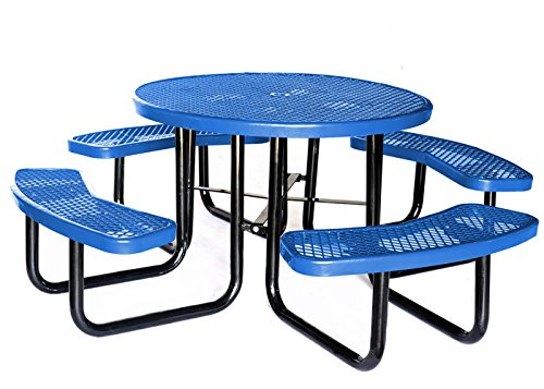 "Lifeyard 46"" Expanded Metal Mesh Picnic Table With Benches ..."