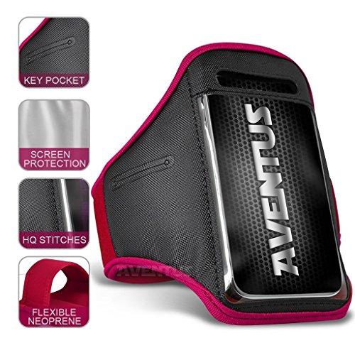 Aventus Vodafone Smart Mini 7 Hulle (Baby Blau) Voll einstellbare Leicht Hulle Armband-Halter-Kasten-Abdeckung Running, Walking, Radfahren, Fitnessraum und andere Sportarten Hot Pink
