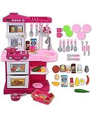 deAO Cocinita de Juguete My Little Chef con Características de Luz y Sonidos, Conjunto Infantil Cocina de Imitación con 30 Accesorios Incluidos