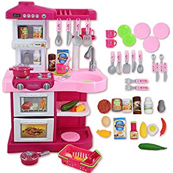 deAO Children Play Kitchen Set Toy with Play Food and Cooking Accesories