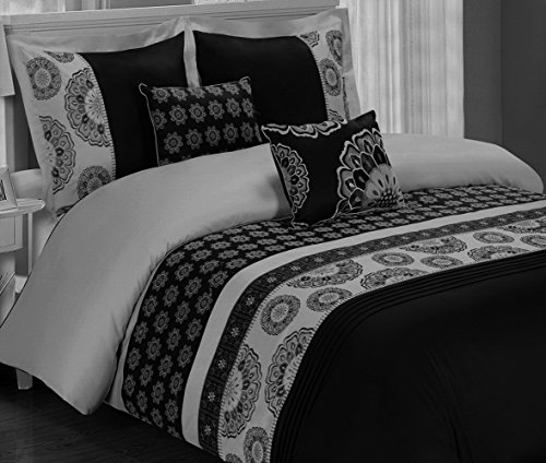 Bohemian Boho Bedding Black Grey Gray Embroidered Mandala Medallion Pattern 100 Cotton Luxury 5 Piece Zipper Duvet Cover and Pillows Pillowcase Set Double Full Queen Size
