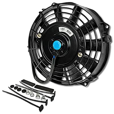 (Pack of 1) 7 Inch High Performance 12V Electric Slim Radiator Cooling Fan w/Mounting Kit - Black: Automotive