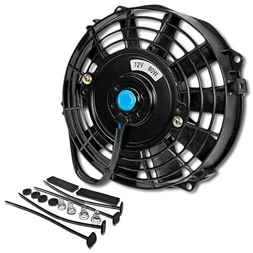 (Pack of 1) 7 Inch High Performance 12V Electric Slim Radiator Cooling Fan w/Mounting Kit - Black (Fan Motor Radiator Transmission Cooling)