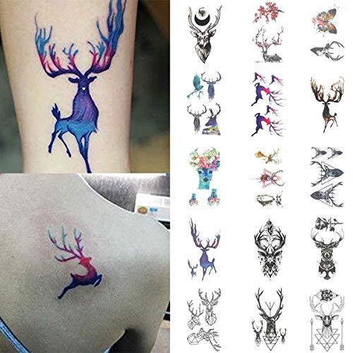 COKOHAPPY 15 PCS Small Temporary Tattoo Sticker for Women Men (Elk Collection 10.5X6cm) ()