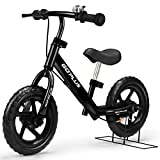 Goplus 12″ Kids Balance Bike, No Pedal Bicycle w/Adjustable Bar and Seat, Brake, Bell Ring, Stand, for Ages 3 to 6 Years, Pre Bike Push Walking Bicycle