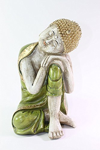Feng Shui 9.5 H Aged Green with Gold Trim Resting Shakyamuni Meditating Buddha Figurines Peace Luck Prosperity Statues Home Decor Housewarming Gift US Seller