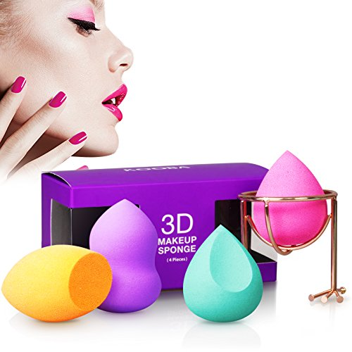 KOOBA 4+1 Pcs Beauty Blender + Makeup Sponge Holder, Multi-shape Latex-Free Vegan Sponges 5pcs Set for Blending, Flawless Foundation of Liquid Cream or Powder