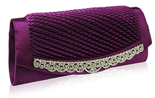 TrendStar - Cartera de mano para mujer Small púrpura - Purple Gorgeous Crystal Clutch