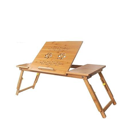 YANFEI Mesa de bambú del Ordenador portátil, Desayuno portátil Ajustable Que Sirve la Bandeja de