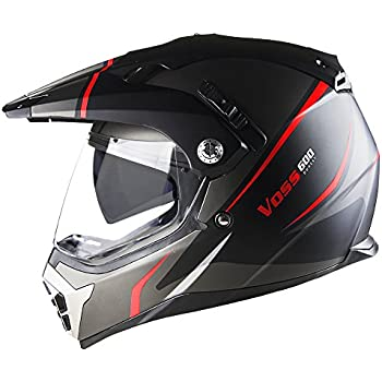 Voss 600 Dually Red Thunderbolt Dual Sport helmet with Integrated Sun Lens and Removable Peak DOT - XL - Matte Red Thunderbolt