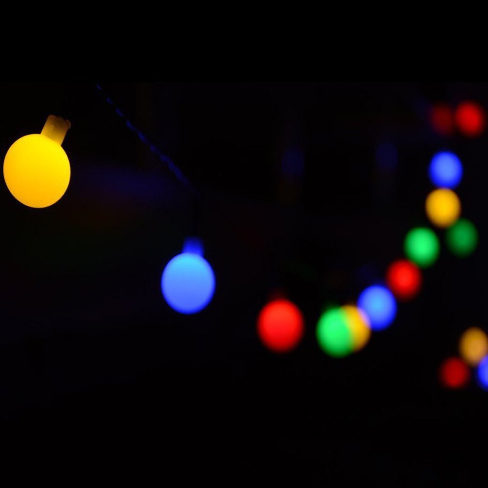 Decorative Globe String Lights Colorful 100 LED Bulbs 33 feet Length with Tail Plug to Extend for Chritmas Festival, Home and Garden Fairy Decorations by FULLBELL
