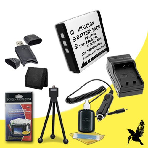 Halcyon 1400 mAH Lithium Ion Replacement NP-50 Battery and Charger Kit + Memory Card Wallet + SDHC Card USB Reader + Deluxe Starter Kit for Fujifilm XF1, REAL 3D W3, Finepix F70EXR, F75EXR, F80EXR, F85EXR, F200EXR, F300EXR, F305EXR, F500EXR, F505EXR, F550