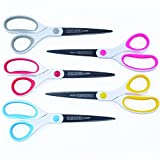 Best Titanium Scissors - 5 Pack - 8' Blade - (STRONG TITANIUM STEEL) - Comfortable Soft Handles in a Variety of Colors - Multi-Purpose Shears - Perfect for Cutting Paper, Fabric, Photos, & More