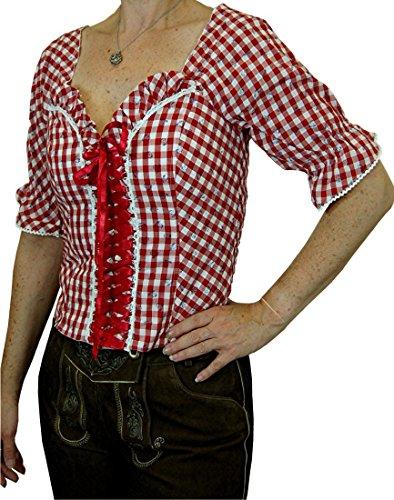 aufwändige Trachtenbluse Landhaus Mieder Marlies in verschiedenen Ausführungen, Größen:48;Farben:rot