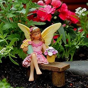 pretmanns fairy garden fairies accessories fairy figurine isabella for a miniature garden sitting fairy with buckets of flowers 1 piece