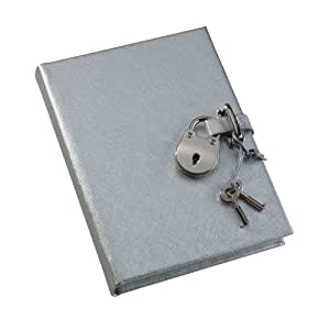 POST Journal with Lock, Saffiano Silver, 4.25 x 6-Inch