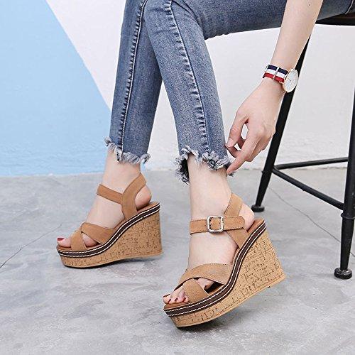 LIXIONG Portátil Sandalias femeninas del verano de 11 cm sandalias coreanas salvajes cómodas de las sandalias de tacón alto de las mujeres -Zapatos de moda ( Color : Negro , Tamaño : EU36/UK3.5/CN35 ) Marrón