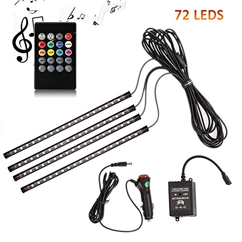 ANSCHE Car Interior Lights, 72 LEDs Under Dash LED 12V RGB Floor Strip Lights Music Changing Wireless RF Remote Control Decorative Atmosphere Ambient Lighting Kits Sound Sensitive,Car Charger Included