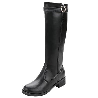 1e56df9caefa5 rismart Women s Knee High Tall Winter Waterproof Split Leather Riding Boots  SN02915(Black