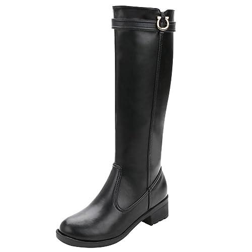 c9d6a26d3 rismart Mujer Rodilla Alta Alto Invierno Impermeable Cuero Partido  Equitación Botas  Amazon.es  Zapatos y complementos
