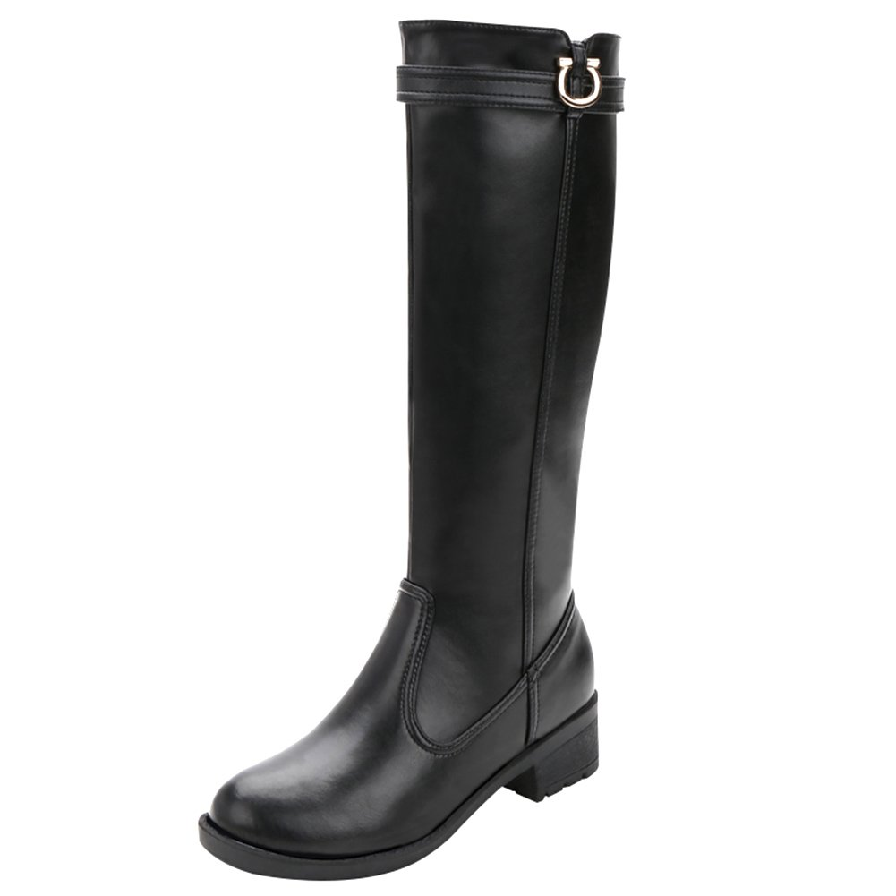 rismart Women's Knee High Tall Winter Waterproof Split Leather Riding Boots SN02915(Black,us8)