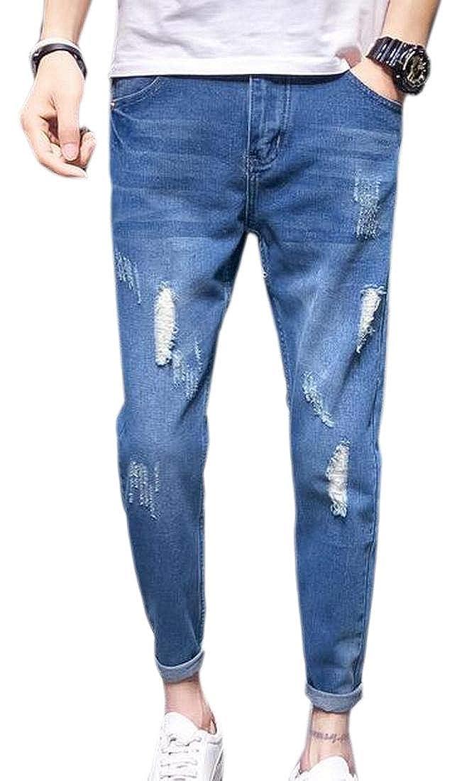 CBTLVSN Men Slim Fit Skinny Jeans Washed Destroyed Ripped Denim Pants