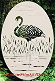"Oval Flamingo Right Etched Window Decal Vinyl Glass Cling - White with Clear Design Elements (8"" x 12"")"