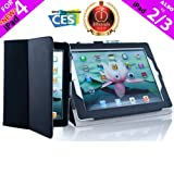 iPearl Leather Carrying Folia Cover Case for iPad 4 (Retina display & Lightning connector), iPad 3 & iPad 2 with 30-pin connector, with Built-in Stand, hand strap, sleep/wakeup function and FREE Touch Screen Stylus Pen - BLACK
