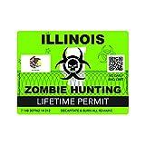 Zombie Illinois State Hunting Permit Sticker Self Adhesive Vinyl Decal IL