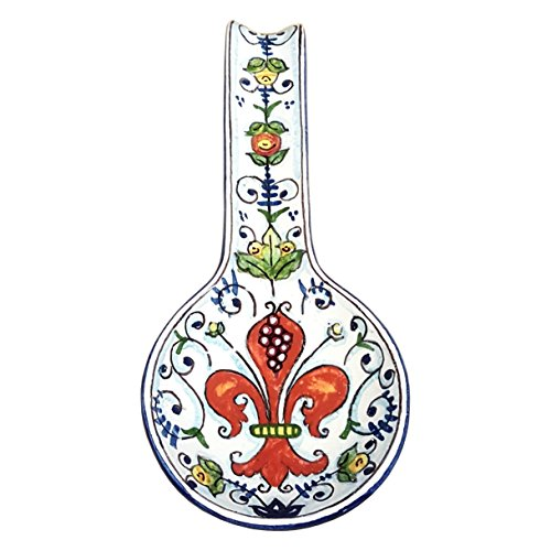 Lily Salad Serving Spoon (CERAMICHE D'ARTE PARRINI - Italian Ceramic Spoon Rest Holder Decorated Lily Pottery Hand Painted Made in ITALY Tuscan)