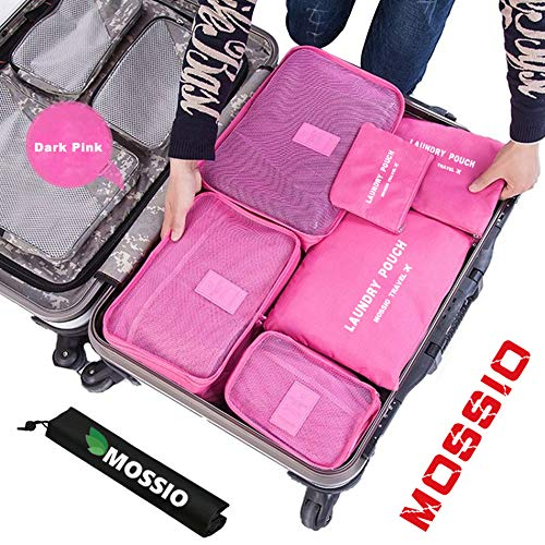 Travel Bag,Mossio 7pcs Luggage Pouch Durable Compact Trip Gears Dark Pink ()