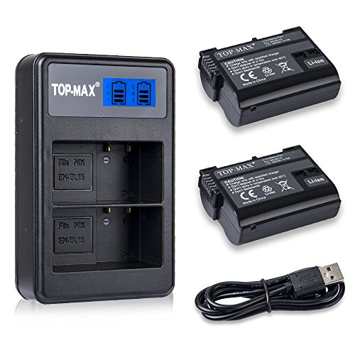 TOP-MAX 2X EN-EL15 Battery Long Life and USB Dual Charger with LCD Screen for Nikon Rechargeable battery for the Nikon D7000, V1, D600, D800, D800E, D7100, D610, D810, D810A, D750, D7200 cameras